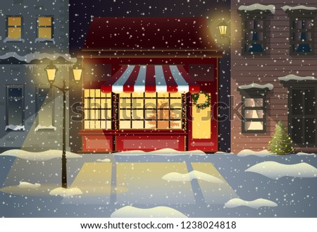 Vector illustration winter city street with soft street lights in the night in snow fall with red christmas shop.