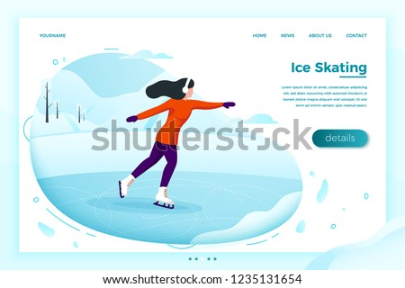 Vector illustration -  winter skate rink with skating girl. Forests, trees and hills on white background. Banner, site, poster template with place for your text.
