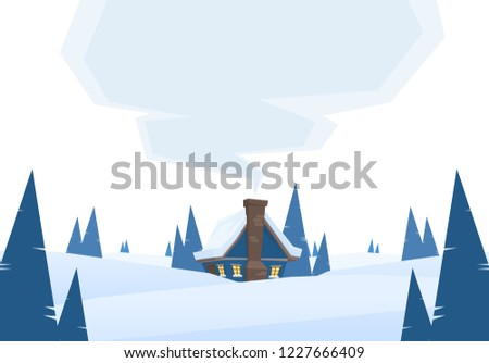 Vector illustration: Winter snowy cartoon landscape with house and smoke from chimney on white background