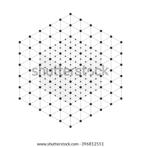 Stock Photo Vector illustration wireframe 3D mesh polygonal vector cube. Network line, design cube, dot and structure.
