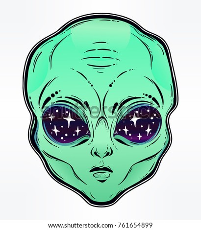Vector illustration with a Alien head with starry eyes with space inside. Used for sticker, poster, banner, web, t-shirt print, pin, bag print, badges, flyer design. Cartoon paranormal surreal face.