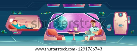Vector illustration with a bedroom at spaceship with astronauts. Crew members relax, female and male dwellers. Tourists or colonists couple resting in space station, orbital hotel or colony base room
