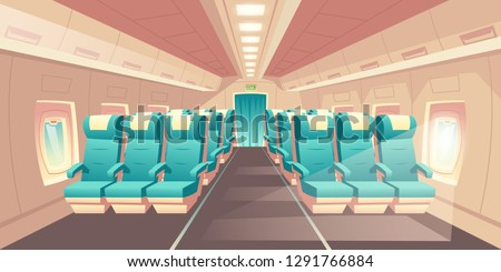 Vector illustration with a cabin of a plane, econom class seats with blue chairs. Bright salon with an aisle in aircraft, empty cozy places. Comfortable armchairs for journey, jet trip.