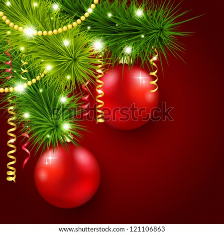 Vector illustration with a Christmas tree decorated with red balls