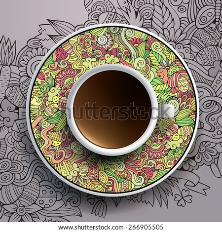 stock-vector-vector-illustration-with-a-cup-of-coffee-and-hand-drawn-easter-doodles-on-a-saucer-and-background