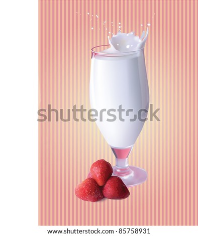 vector illustration with a strawberry milkshake