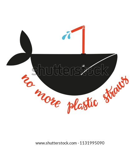 Vector illustration with a whale who can't breathe normally because the hole for breathing is plugged with a plastic straw. Environmental issue, pollution of the ocean. No more plastic straws