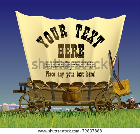 Vector illustration with a Wild West covered wagon in prairie against the background of a flock of horses