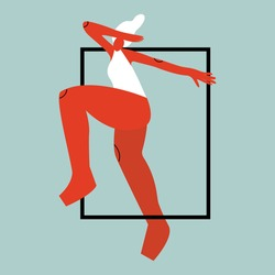 Vector illustration with acrobat woman. Cartoon charcater