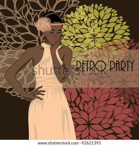 vector illustration with african american woman in retro style