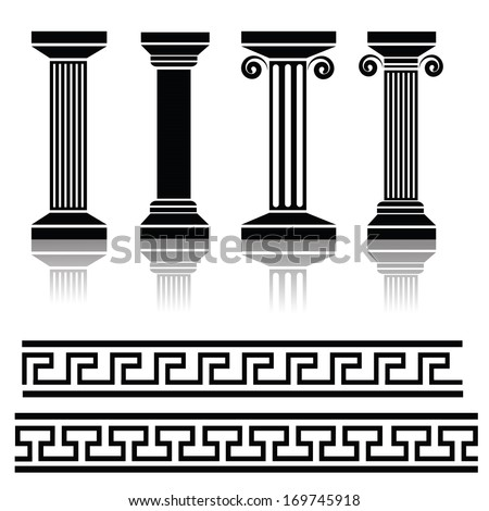 Vector Illustration with  Ancient Columns for Your Design. Greek Pillar Icons. Architectural Logo Design. Silhouettes of Greek Traditional Ornaments