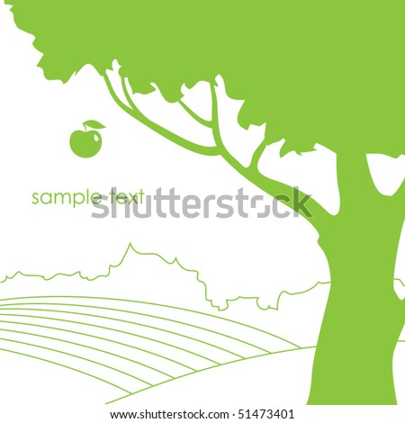 vector illustration with apple tree
