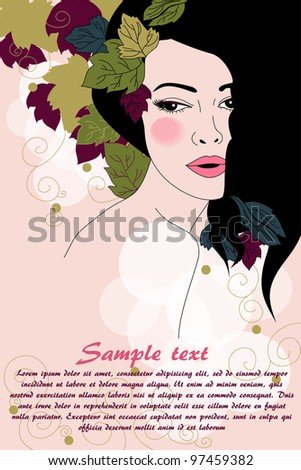 vector illustration with beautiful brunette in spring style