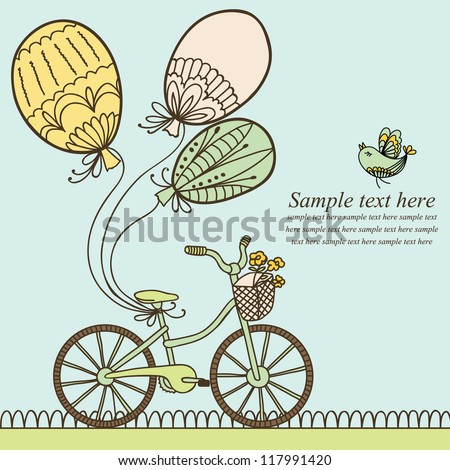 Vector illustration with bicycle, balloons and place for your text. Can be used for celebration, Birthday card.