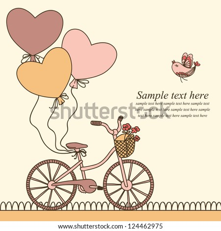 Vector illustration with bicycle, balloons and place for your text. Can be used for celebration, Birthday card, Valentine's Day Card, Wedding invitation