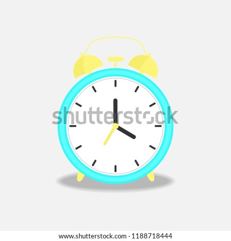 Vector illustration with blue alarm clock on gray background. Wake up morning concept. Isolated on background in flat style.