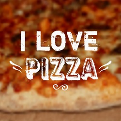 Vector illustration with blurred pizza background and