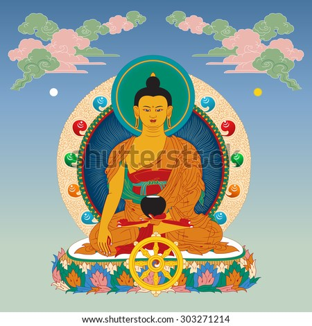 vector illustration with buddha