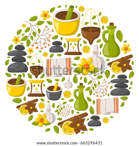 Vector illustration with cartoon ayurveda background. Wellness therapy, health and body care, spa alternative medicine. Vector cartoon ayurveda background. Relaxation, ayurvedic medicine vector