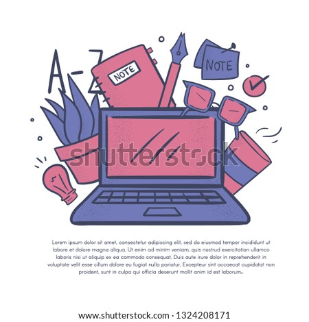 Vector illustration with cartoon elements. Bloging,copy writer,writer concept.