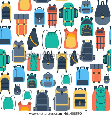 Vector illustration with cartoon flat backpack and sport suitcase. Flat school backpack. Mountain tourist equipment. Hiking, camping, climbing, outdoor sport backpack. Vector cartoon flat background