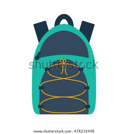 Vector illustration with cartoon flat backpack and sport suitcase. Flat school backpack. Mountain tourist equipment. Hiking, camping, climbing, outdoor sport backpack. Vector cartoon flat icons