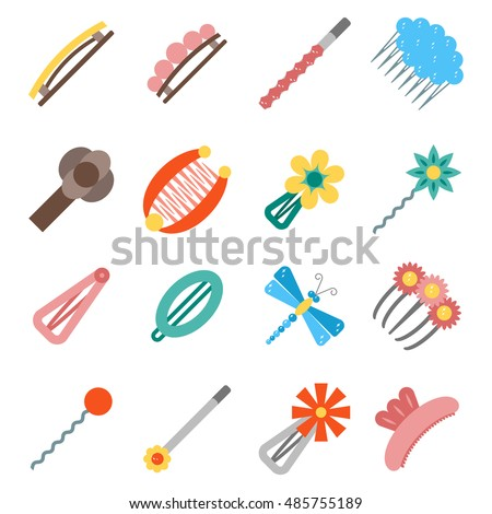 Shutterstock Vector illustration with cartoon flat hairpins icon. Hair accessories objects. Beauty design. Female salon concept.