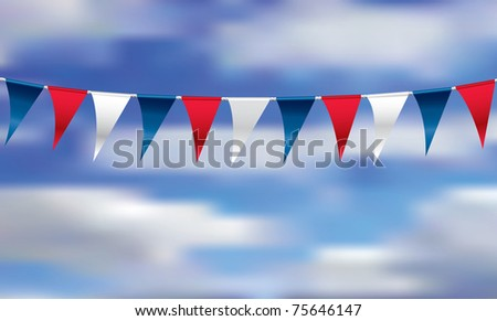 vector illustration with celebration flags on rope