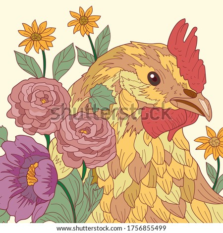 Vector illustration with chicken bird. Multicolored image. Multicolor painting.Vector Flowers and leafs. Chicken  print.