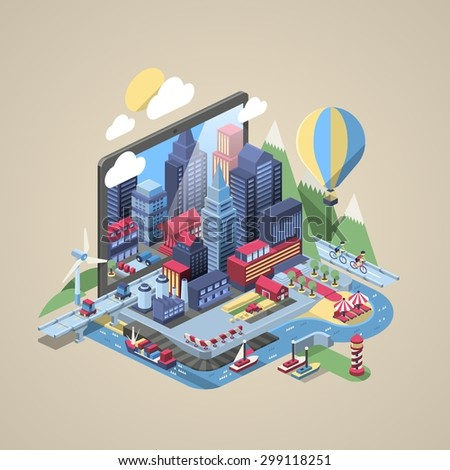 vector illustration with city
