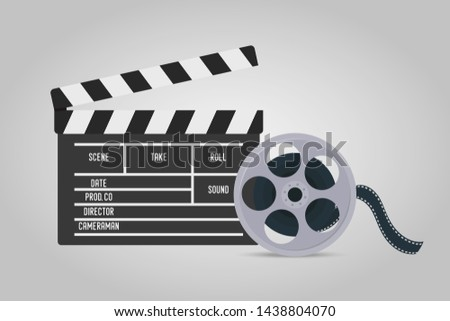 Vector illustration with clapperboard and tape, bobbin for movie making. Clapper with titles, cine-film for cinema, filmmaking in realistic style.