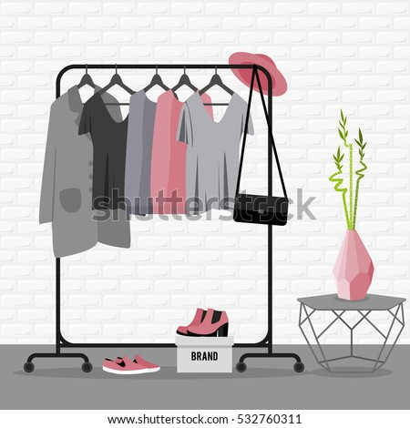 Vector illustration with coat rack, showroom. Closet with clothes, bags, boxes and shoes in flat style