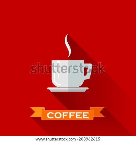 Coffee Cup Flat Icon Coffee Cup Icon in Flat
