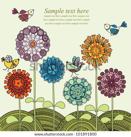 Vector illustration with colorful flowers and flying birds