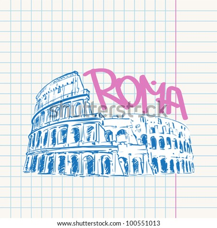 Vector illustration with colosseum.