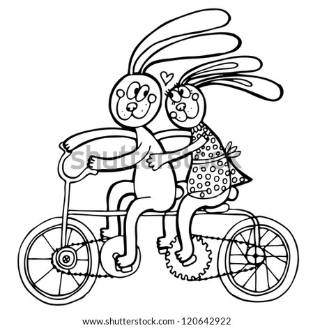 Vector illustration with couple of rabbits on the bicycle