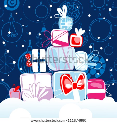 Vector illustration with Cristmas gifts on the snow