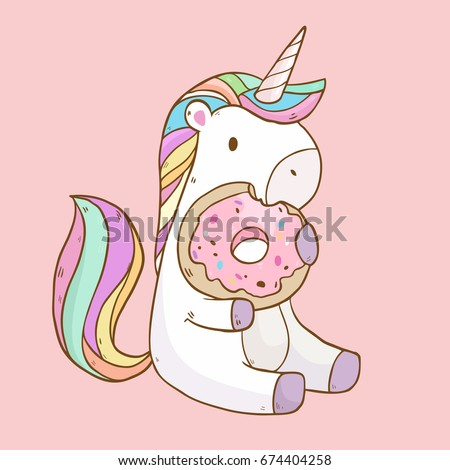 Vector illustration with cute cartoon unicorn eating tasty donuts