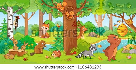 Vector illustration with cute forest animals in a children's style. A set of mammals in the forest. Collection in the children's style. #1106481293
