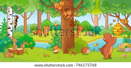 Shutterstock Vector illustration with cute forest animals in a children's style. A set of mammals in the forest. Collection in the children's style.