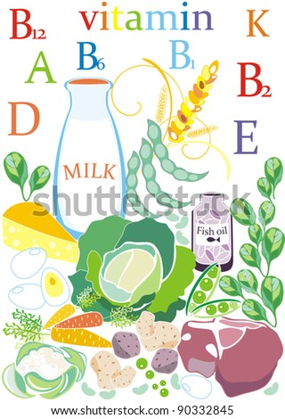 vector illustration with decorative  food and vegetables which  contain useful vitamins for peoples health on white background
