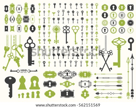 Vector illustration with design elements for decoration. Big silhouettes set of keys, locks, arrows, boarders on white background. Vintage style.