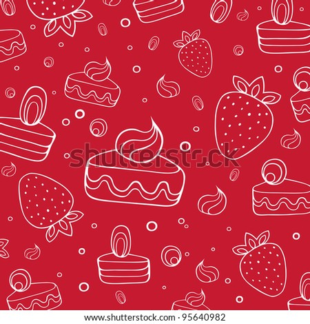 Vector illustration with desserts and cakes