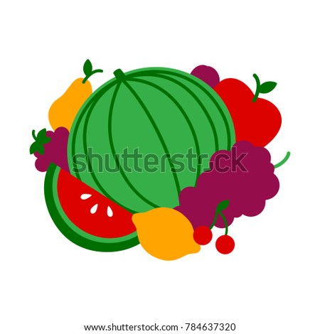 Vector illustration with different fruits #784637320