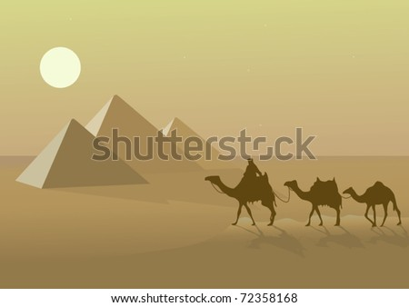 vector illustration with Egypt pyramids and camels