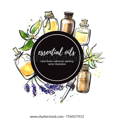 Vector illustration with essential oil bottles, flower and plant. Hand drawn elements in circle composition with black round label and place for your text. Isolated black outline and colorful stains.