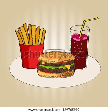 Vector illustration with fast food