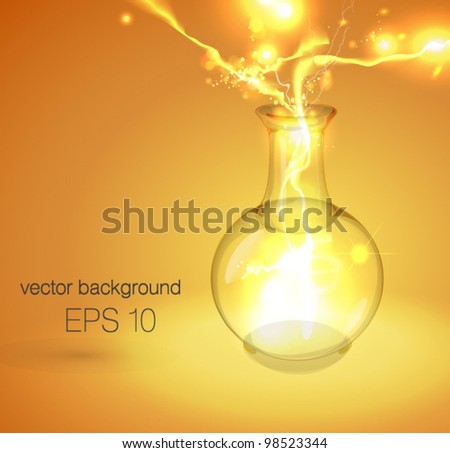 Vector illustration with flask of fire. Fully editable - stock vector