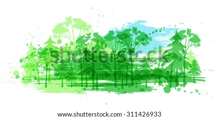 vector illustration with forest