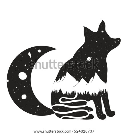 vector illustration with fox
